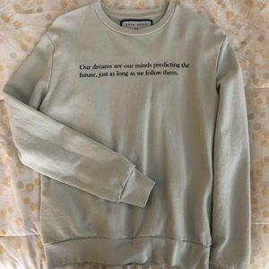 Zara mint green quote sweatshirt